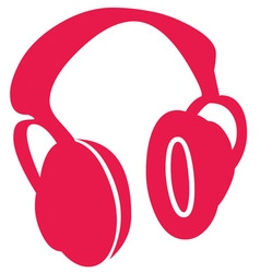 Red Headphones vector image