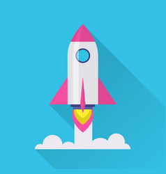 Rocket flat icon vector
