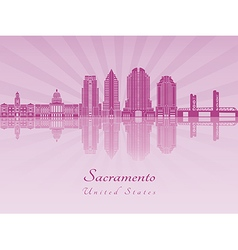 Sacramento V2 skyline in purple radiant orchid vector image
