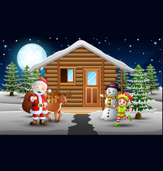 santa claus and elf standing in front of the snowi vector image