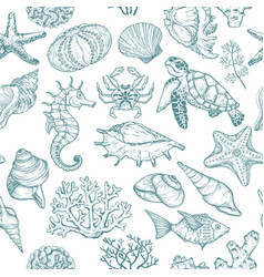 seamless pattern with sketch seal ocean life vector image
