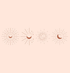 set mystical moons linear logo icons vector image