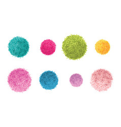 Set of 8 colorful pom poms decorative vector