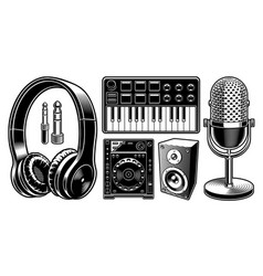 set of black and white dj on the white background vector image