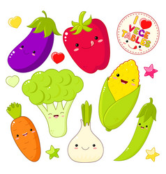 set of cute vegetable icons in kawaii style vector image