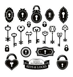 Set of different vintage keys vector image