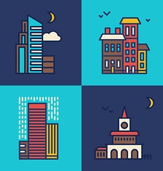 Set of Flat Style Line Art for Modern Buildings vector image