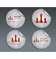 Set of labels - stickers Chess Smart solutions vector