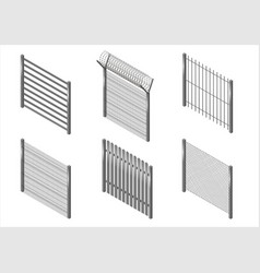 Set of metal fences vector