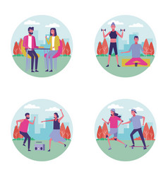 set of people at park in summer vector image