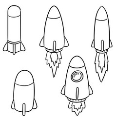 set of rocket and space ship vector image