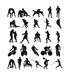 set sports people silhouettes collection vector image