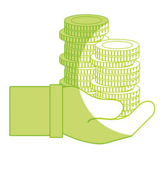 Silhouette coins cash currency in the hand vector