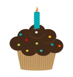 single cupcake with candle icon vector image