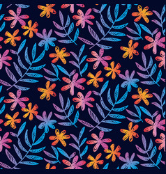 sketched seamless pattern with tropical flowers vector image