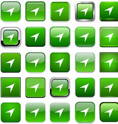 Square green gps icons vector image