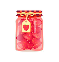 Strawberry jam in rustic decorated glass and label vector