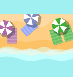 Top view of towel and umbrella on sand for summer vector