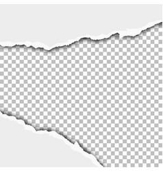 Torn wide window in white sheet paper vector