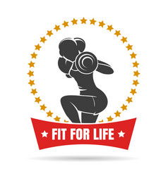 training woman fitness center emblem vector image
