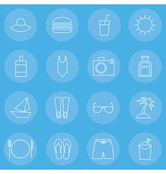 Travelling thin line icons set vector