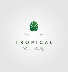 tropical green palm leaf vintage classic logo vector image