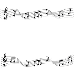 Two short row of black musical chords flowing vector image