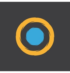 unusual round logo with a blue dot in center vector image