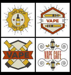 Vaping e-cigarette emblems vintage vector