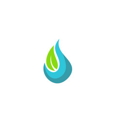 water ecology green leaf logo vector image