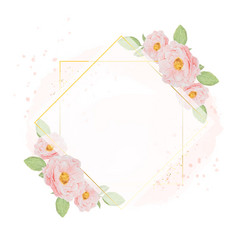 watercolor pink roses with golden wreath frame on vector image