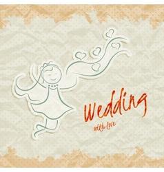 Wedding invitation card with beautiful bride vector