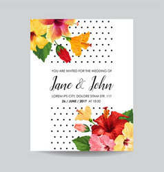 wedding invitation template with hibiscus flowers vector image