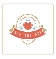 wedding save the date invitation card design vector image