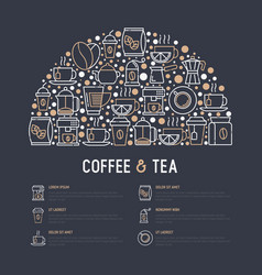 coffee and tea concept in half circle vector image