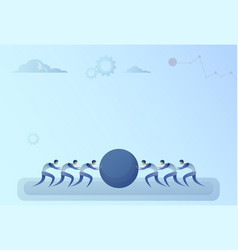 business people group two team pushing stone vector image