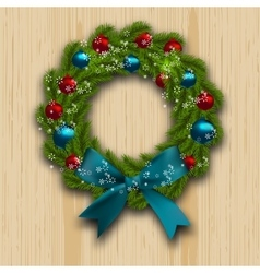 Christmas and New Year wreath Green branch of fir vector image vector image
