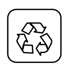 monochrome contour square with recycling icon vector image vector image