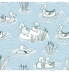 seamless pattern with ducks and reed vector image vector image
