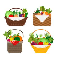 vegetables in baskets set vector image vector image