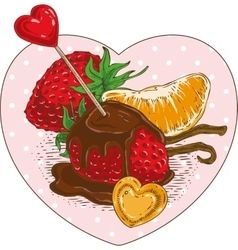 Chocolate Covered Strawberries and Tangerine Slice vector image