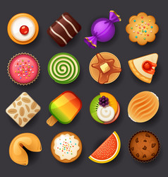 dessert icon set-3 vector image vector image
