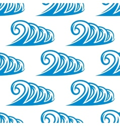 Seamless pattern of curling blue ocean waves vector