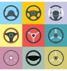 Car steering wheel flat icons set vector