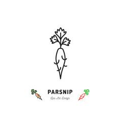parsnip icon vegetables logo thin line art design vector image vector image