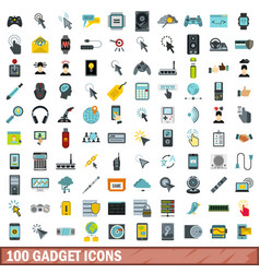 100 gadget icons set flat style vector image