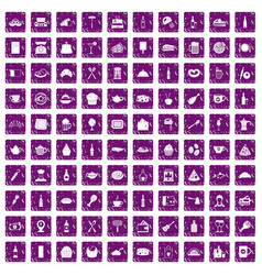 100 restaurant icons set grunge purple vector image