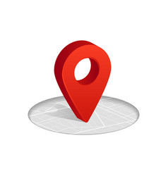 3d gps red color icon dropping on street map in vector