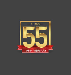 55 years anniversary logo style with golden vector