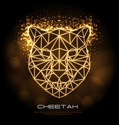 Abstract polygonal tirangle animal cheetah neon vector
